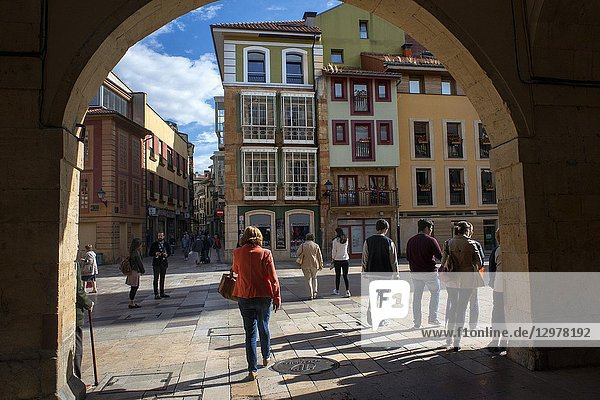 Constitution Sqaure in the Center of Oviedo City  Asturias  Spain. One of the stops of the Transcantabrico Gran Lujo luxury train.