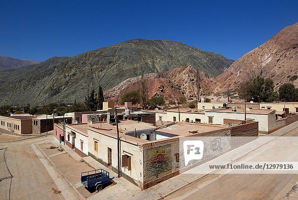 Pumamarca  Jujuy  Argentina. It belongs to the department of Tumbaya and was founded in 1594. The village of Purmamarca is located on the hill of the seven colors and both form one of the most recognized postcards of northwestern Argentina.
