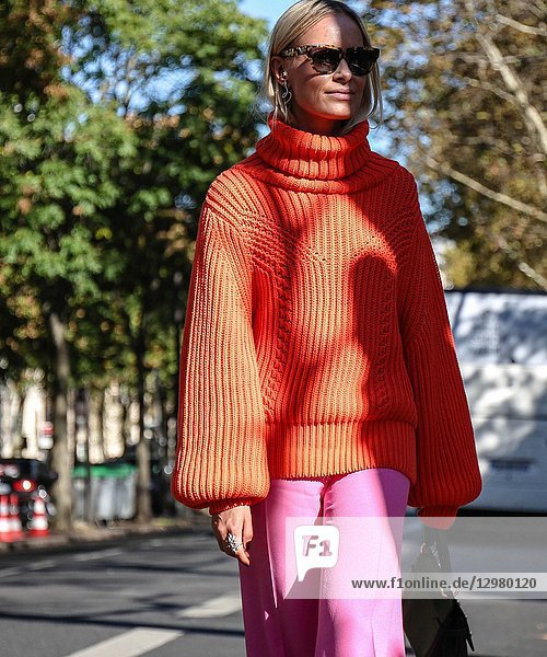 PARIS  France- September 26 2018: Thora Valdimars on the street during the Paris Fashion Week.