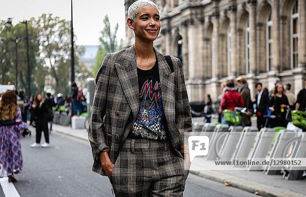 PARIS  France- September 26 2018: Model Janiece Dilone on the street during the Paris Fashion Week.