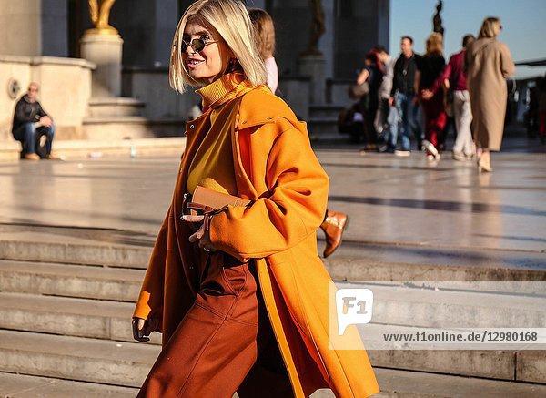 PARIS  France- September 26 2018: Xenia Van Der Woodsen on the street during the Paris Fashion Week.