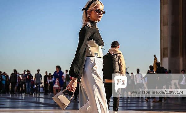 PARIS,  France- September 26 2018: Caroline Daur on the street during the Paris Fashion Week.