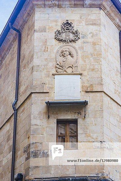 Bust of Juan Melendez Valdes  poet and politician  at the corner of Melendez and Compania streets  Salamanca  Castilla y Leon  Spain  Europe.