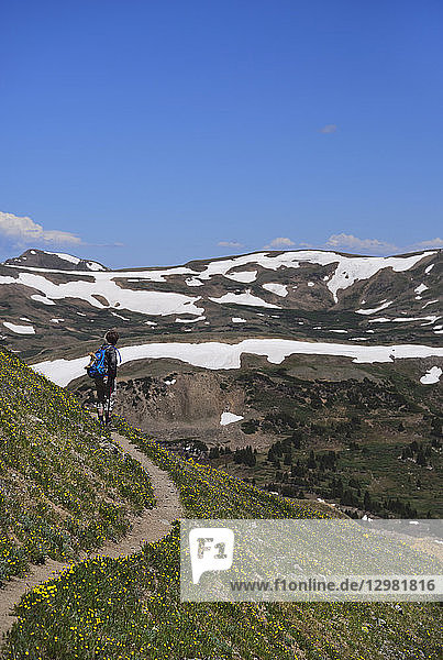 Woman looking at view while hiking on Loveland Pass  Colorado