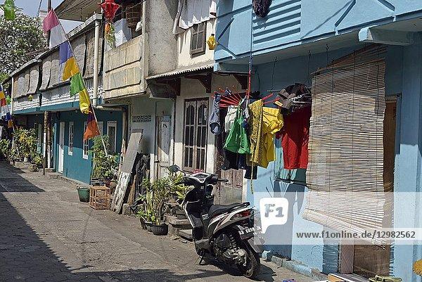 Gondolayu Lor Street in Jetis district  Yogyakarta  Java island  Indonesia  Southeast Asia.