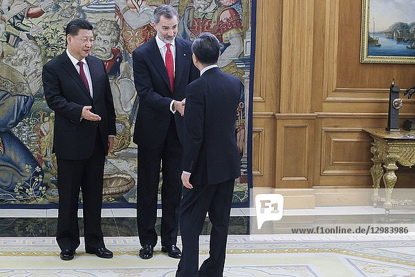 King Felipe VI of Spain  Queen Letizia of Spain  Xi Jinping  Peng Liyuan host a Dinne with Xi Jinping  President of People's Republic of China and wife Peng Liyuan at Zarzuela Palace on November 27  2018 in Madrid  Spain.27/11/2018.