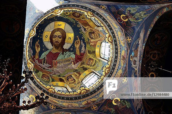 Mosaic of Christ Pantocrator under the central dome. Church of the Savior on Spilled Blood. Saint Petersburg  Northwestern  Russia.