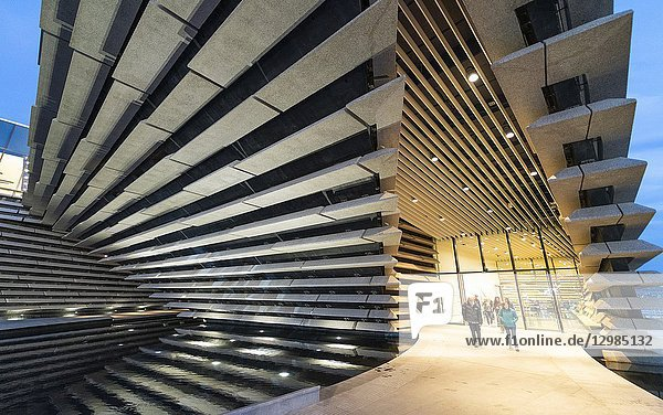 Exterior view of new V&A Museum in the evening in Dundee  Scotland  UK. Architect Kengo Kuma.