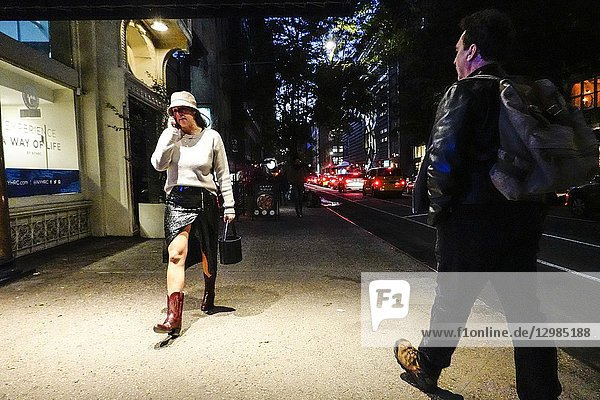 New York  New York USA Pedestrians walk on East 14th Street.