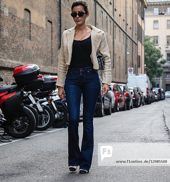 MILAN  Italy- September 20 2018: Sylvia Haghjoo on the street during the Milan Fashion Week.