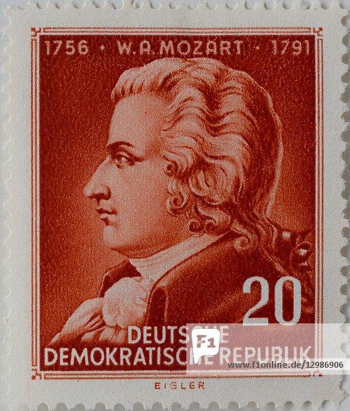 Wolfgang Amadeus Mozart  an Austrian composer and musician  portrait on an East German stamp.