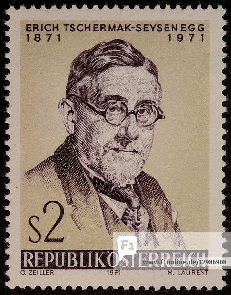 Erich Tschermak  Edler von Seysenegg  an Austrian agronomist  portrait on an Austrian stamp.
