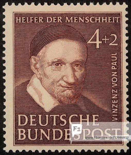 Vinzenz von Paul  a French Roman-Chatolic priest  portrait on a German stamp.