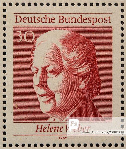 Helene Weber  a German politician  portrait on a German stamp.