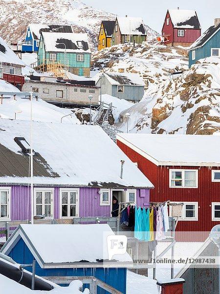 Town Uummannaq during winter in northern Greenland. America  North America  Denmark  Greenland.