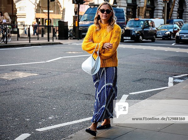 LONDON,  UK- February 16 2018: Jessie Bush on the street during the London Fashion Week.