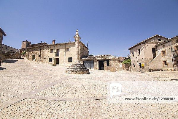 Main square in Caracena village in Soria province Castile Leon Spain.