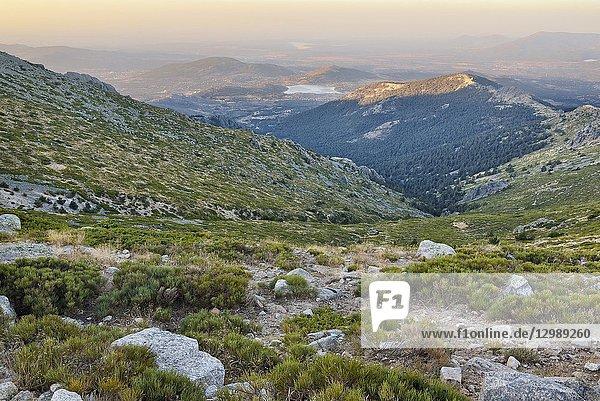 Sunrise at Cabrillas hills in the Sierra de Guadarrama. Madrid. Spain.