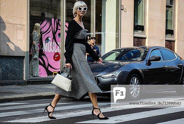 MILAN  Italy- September 20 2018: Samantha Angelo on the street during the Milan Fashion Week.