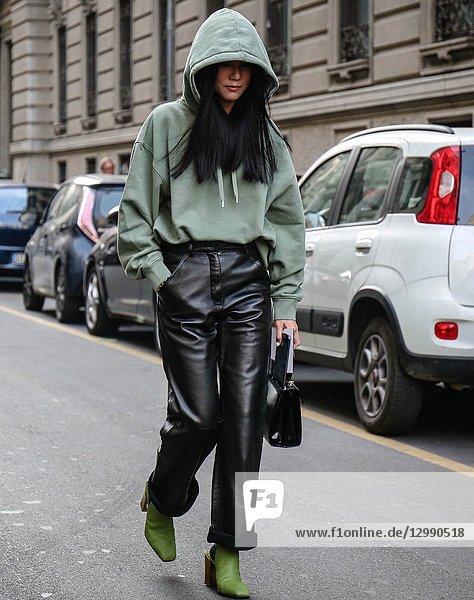 MILAN  Italy- September 22 2018: Yoyo Cao on the street during the Milan Fashion Week.