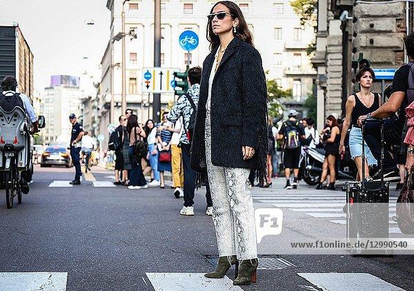 MILAN  Italy- September 20 2018: Erika Boldrin on the street during the Milan Fashion Week.