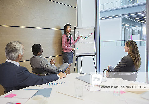 Businesswoman at flip chart leading conference room meeting