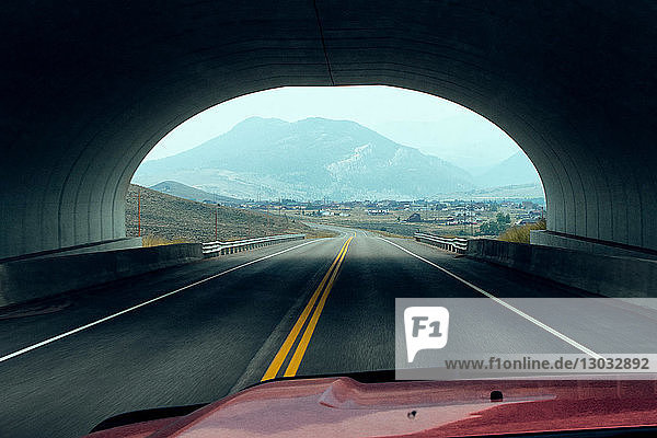Vehicle driving through tunnel  Silverthorne  Colorado  USA