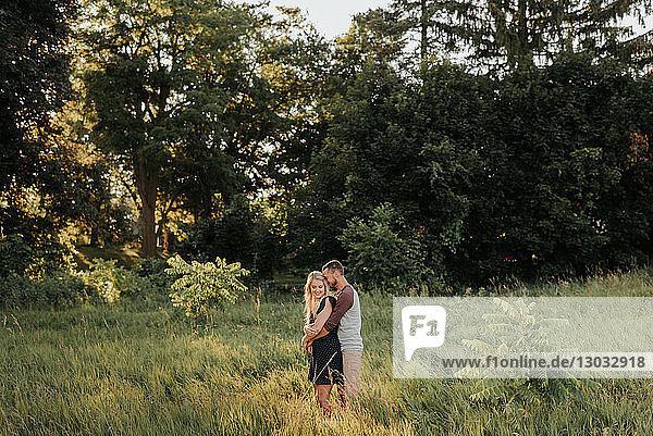 Romantischer Mann umarmt Freundin im Feld aus langem Gras