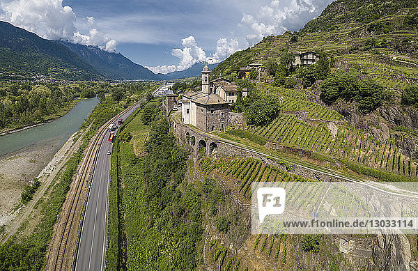 Aerial view of Torre della Sassella and vineyards  Sondrio province  Lombardy  Italy