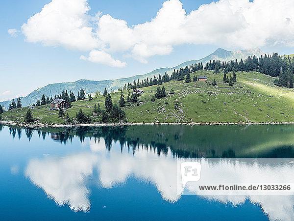 Bannalpsee  Swiss Alps  mountain and lake scene  Switzerland