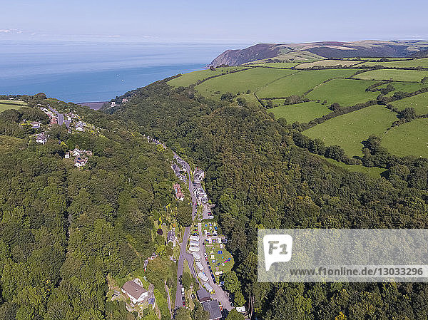 Wooded valley on the north Devon coast  Lynton  Exmoor  Devon  England  United Kingdom