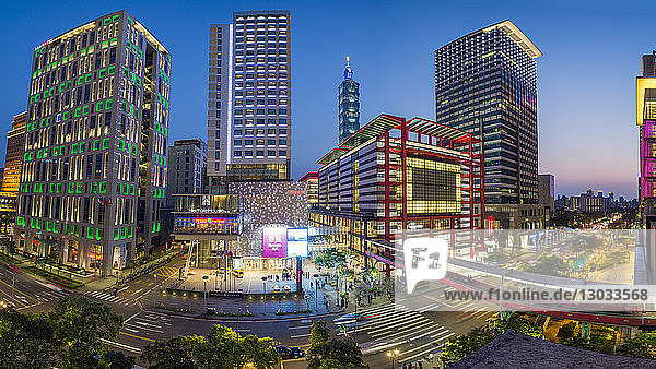 Xinyi downtown district  the prime shopping and financial district  Taipei  Taiwan