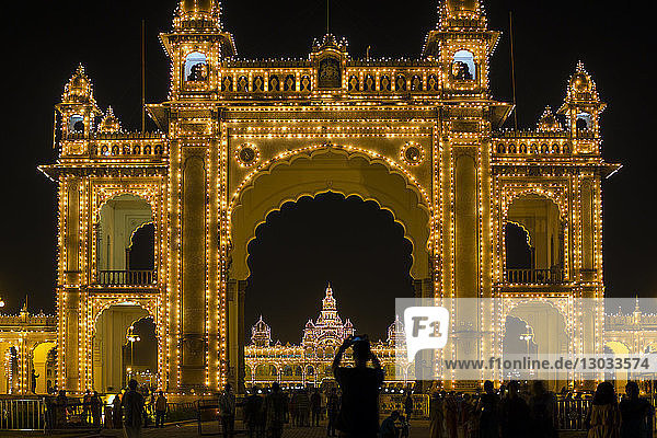 City Palace  entrance gateway to the Maharaja's Palace  Mysore  Karnataka  India
