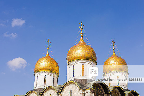 The domes of the The Cathedral of the Annunciation inside the Kremlin  UNESCO World Heritage Site  Moscow  Russia