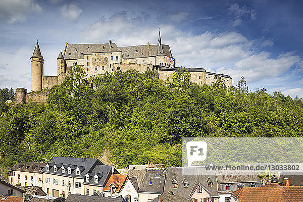 View of Vianden Castle above the town  Vianden  Luxembourg