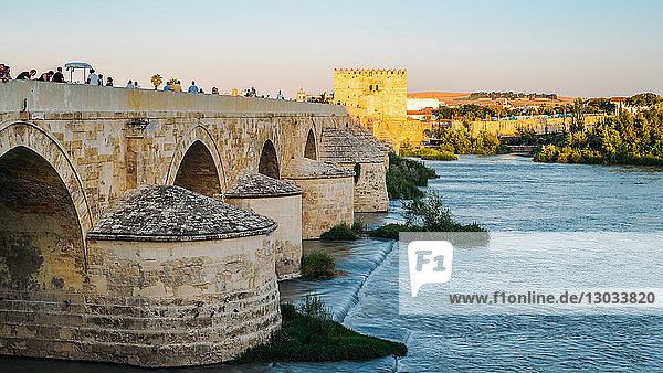 Roman Bridge  UNESCO World Heritage Site  over Guadalquivir River  Cordoba  Andalucia  Spain
