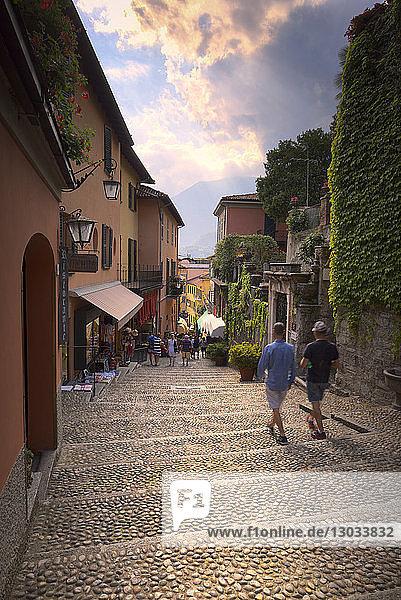 Tourists walk stairs in Bellagio  Province of Como  Lake Como  Italian Lakes  Lombardy  Italy
