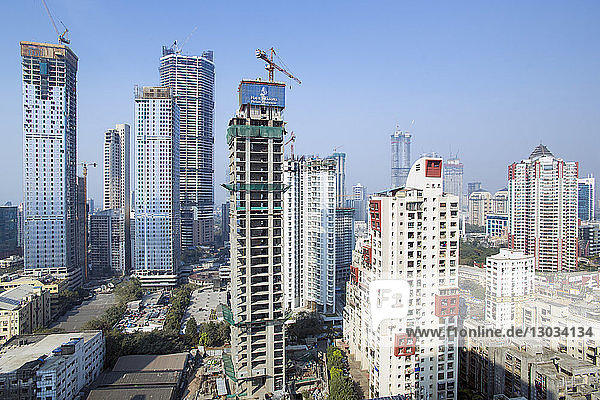 City skyline of modern office and residential buildings  Mumbai  Maharashtra  India