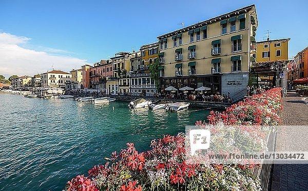 Floral display at entrance to Peschiera del Garda  Veneto  Italy