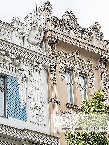 Art Nouveau buildings  architectural detail  UNESCO World Heritage Site  Riga  Latvia  Baltics