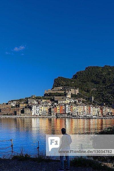 Island of Palmaria  view of Portovenere from Palmaria  Liguria  Italy