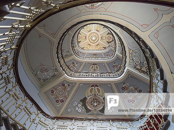 Art Nouveau building staircase  UNESCO World Heritage Site  Riga  Latvia  Baltics
