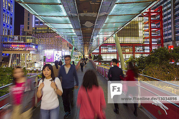 Xinyi downtown district  pedestrian bridge in the prime shopping and financial district of Taipei  Taiwan