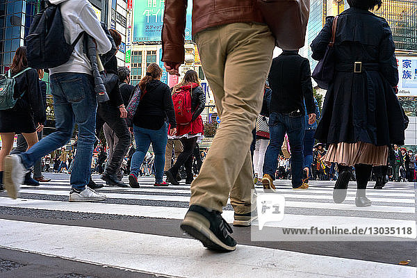 Low angle view of crowds walking through the Shibuya Crossing  Tokyo  Japan