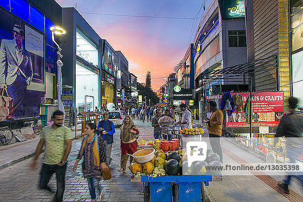 Busy Brigade Road shopping street  Bangalore (Bangaluru)  capital of Karnataka  India