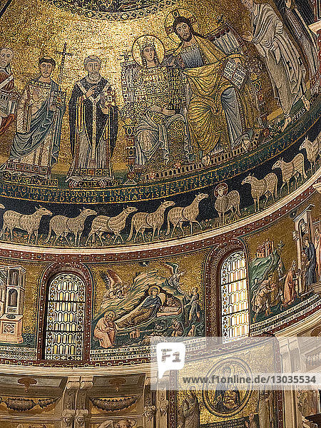 The 12th century mosaics in the Church of Santa Maria in Trastevere  Rome  Italy