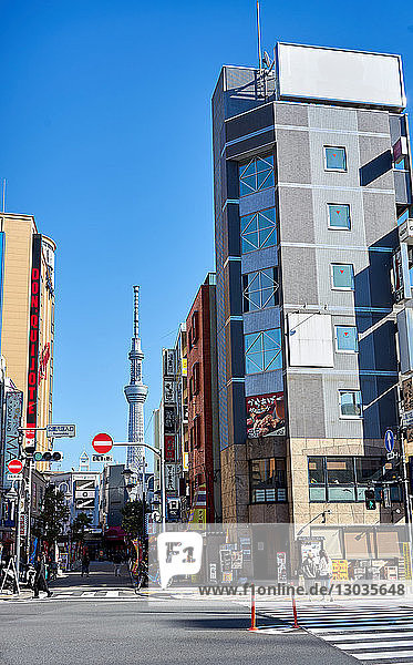 Tokyo street scene with the Sky Tree Tower in background  Tokyo  Japan