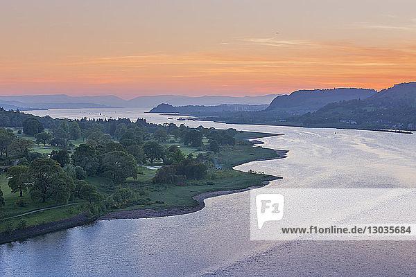 Dusk over River Clyde viewed from the Erskine Bridge  Scotland  United Kingdom