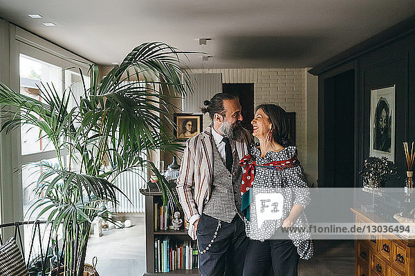 Couple in living room at home
