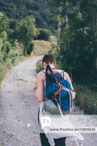Junge Wanderin auf ländlichem Feldweg  Rückansicht  Primaluna  Trentino-Südtirol  Italien